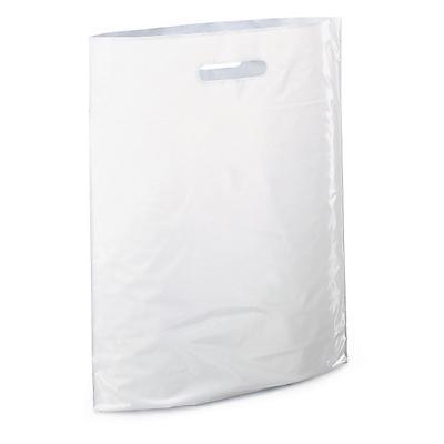 Hvite plastposer med utstanset bærehåndtak