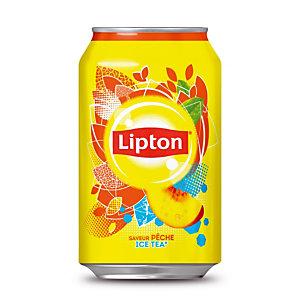 Ice Tea Pêche Lipton, en canette, lot de 24 x 33 cl