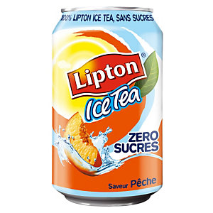 Ice Tea Pêche Lipton, zéro sucres, en canette, lot de 24 x 33 cl