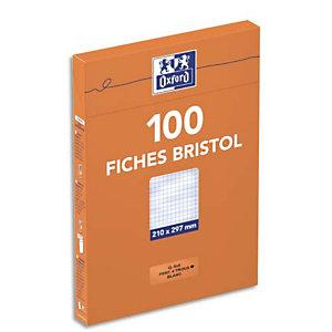Idea Etui distributeur de 100 fiches bristol A4 perforées 21 x 29,7 cm - blanc quadrillé 5 x 5