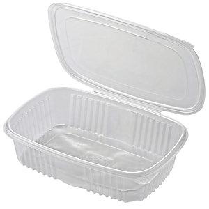 ILIP Contenitore in PP con coperchio incernierato Linea Food2go, Riciclabile, Capacità 1.500 cc, 18,5 x 13,5 x 7 cm, Trasparente (confezione 300 pezzi)