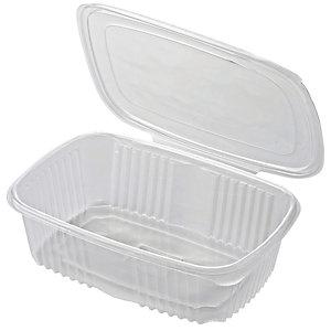 ILIP Contenitore in PP con coperchio incernierato Linea Food2go, Riciclabile, Capacità 2.000 cc, 18,5 x 18,5 x 8,5 cm, Trasparente (confezione 300 pezzi)