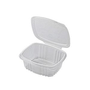 ILIP Contenitore in PP con coperchio incernierato Linea Food2go, Riciclabile, Capacità 370 cc, 13,5 x 11,5 x 5 cm, Trasparente (confezione 700 pezzi)