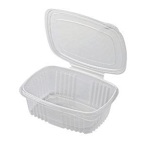 ILIP Contenitore in PP con coperchio incernierato Linea Food2go, Riciclabile, Capacità 750 cc, 18,5 x 13,5 x 4,5 cm, Trasparente (confezione 400 pezzi)