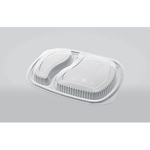 ILIP Coperchio monouso in PP per vassoio gastronomia 2 scomparti, 25,5 x 18,5 x 2,5 cm, Trasparente (confezione 250 pezzi)