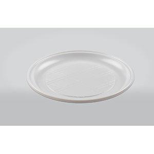 ILIP Piatto piano rotondo monouso in PP Linea Soleil, Riciclabile, ø 21 cm, 12 g, Bianco (confezione 85 pezzi)