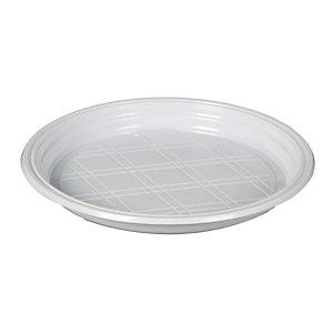 ILIP Piatto piano rotondo monouso in PS Linea Bistrot, Ø 20 x 2,5 cm, 6,5 g, Bianco (confezione 100 pezzi)