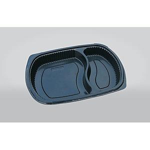 ILIP Vassoio gastronomia monouso 2 scomparti in PP Linea Food2Go, Capacità 800 cc, 25,5 x 18,5 x 3,5 cm, Nero (confezione 250 pezzi)