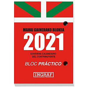 INGRAF Bloque calendario 2021, 82 x 116 mm, euskera/castellano