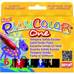 INSTANT-EDUCA PlayColor One Tempera solida, Colori assortiti (confezione 6 pezzi)