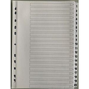 Intercalaires alphabétiques A4 en carte 20 divisions - Blanc