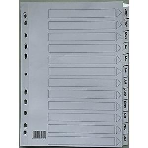 Intercalaires mensuels A4 en carte 12 divisions - Blanc