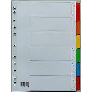 Intercalaires neutres A4 bristol blanc 170 g/m² - 6 onglets