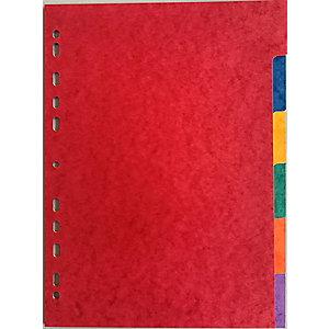 Intercalaires neutres A4 carte lustrée 225 g/m² - 6 onglets couleur