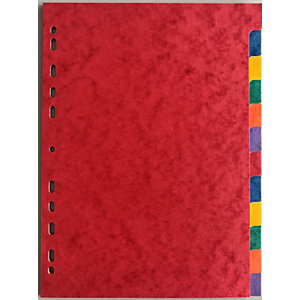Intercalaires neutres A4 carte lustrée 225 g/m² - 12 onglets couleur