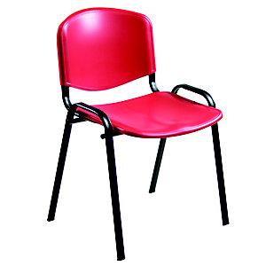 Iso Silla de reunión, apilable, estructura metálica, rojo