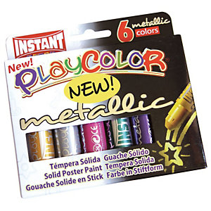 Istant Tempera solida in stick Playcolor - 10gr - colori assortiti - Instant - astuccio 6 stick metal