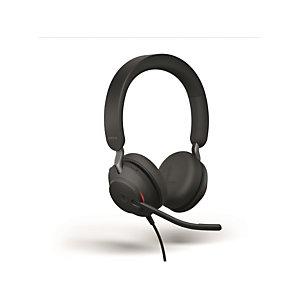 Jabra Cuffia professionale stereo USB Evolve2 40, Nero e rosso