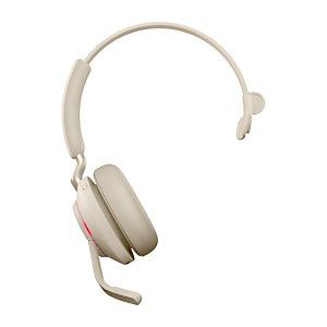 Jabra Evolve2 65, MS Mono, Auriculares, Diadema, Oficina/Centro de llamadas, Beige, Monoaural, Emparejamiento Bluetooth, Reproducir/Pausar, Track <, Pista >, Volume +, Volume - 26599-899-898