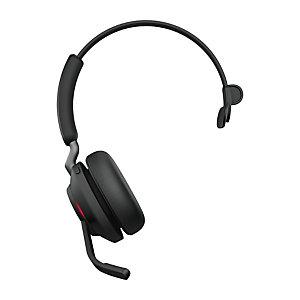 Jabra Evolve2 65, MS Mono, Auriculares, Diadema, Oficina/Centro de llamadas, Negro, Monoaural, Emparejamiento Bluetooth, Tecla múltiple, Reproducir/Pausar, Track <, Pista >, Volume +, Volume - 26599-899-999