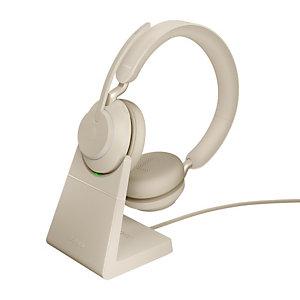 Jabra Evolve2 65, UC Stereo, Auriculares, Diadema, Oficina/Centro de llamadas, Beige, Binaural, Emparejamiento Bluetooth, Reproducir/Pausar, Track <, Pista >, Volume +, Volume - 26599-989-888