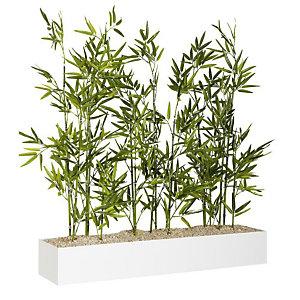 Jardinière artificielle basse - Composition florale en bambous - Blanc