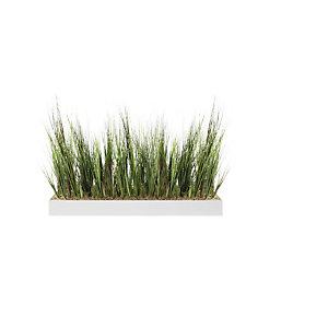 Jardinière artificielle basse - Composition florale en herbes - Blanc