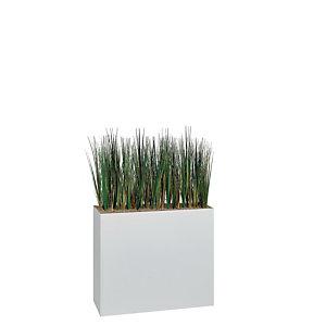 Jardinière artificielle haute sur roulettes - Composition florale en herbes - Blanc