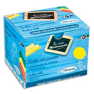 JPC Boîte de 100 craies anti-poussière coloris Jaune