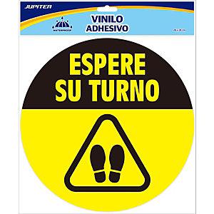 """Jupiter Vinilos adhesivos redondos, protección Covid-19, mensaje """"espere su turno"""""""