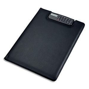 JUSCHA Conférencier noir Brescia imitation cuir. 33x25x2cm. Avec porte-bloc, calculette clip et pochettes