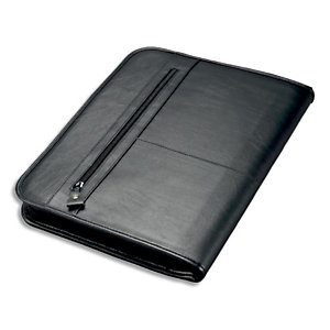 JUSCHA Conférencier Noir Limone cuir. 36x28,5x4cm. Livré bloc-notes et mécanime amovible 4 anneaux