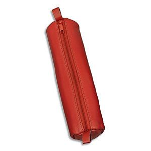 JUSCHA Trousse ronde en cuir 21x6cm. Coloris Rouge