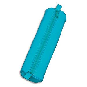 JUSCHA Trousse ronde en cuir 21x6cm. Coloris Turquoise