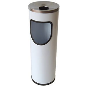 JVD Papelera-cenicero cilíndrica, metal, 15 l, blanco