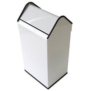 JVD Papelera de tapa basculante, metal cincado, 40 l, blanco