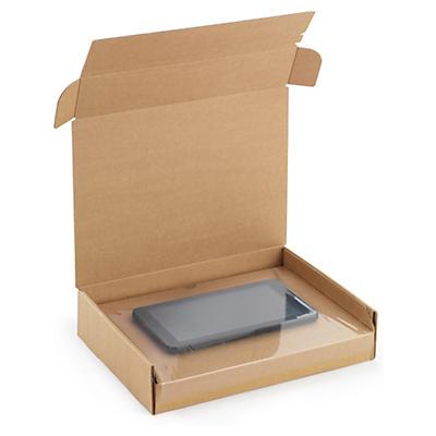 Boîte carton avec calage film intégré fermeture adhésive##Karton mit integrierter Fixierung und Haftklebeverschluss
