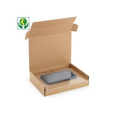 Karton mit integrierter Fixierung und Haftklebeverschluss