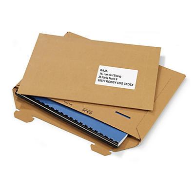 Pochette brune en carton avec languettes##Karton-Versandtaschen mit Steckverschluss, braun