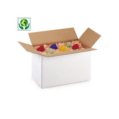 Caisse carton Rajabox blanche simple cannelure##Kartonnen dozen in wit enkelgolfkarton