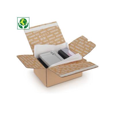 """Kartons mit Automatikboden, doppeltem Haftklebeverschluss und Aufdruck """"Danke"""""""