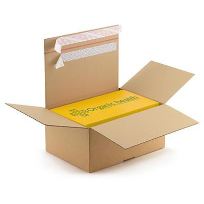 Kasse med automatbund og dobbelt selvklæbende lukning til retursendelse