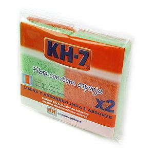 KH-7 Estropajos de fibra naranja con esponja, 6,5 x 11 cm
