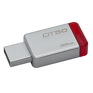 Kingston Clé USB 3.1 DataTraveler 50 - 32 Go - Métal/Rouge