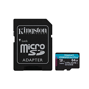 Kingston Technology Canvas Go! Plus, 64 Go, MicroSD, Classe 10, UHS-I, 170 Mo/s, 70 Mo/s SDCG3/64GB