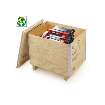 Caisse en bois contreplaqué avec chevrons Raja##Kist van multiplex met houten onderstel Raja