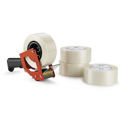 Kit 18 rollos de cinta adhesiva reforzada con filamentos longitudinales RAJATAPE + precintadora