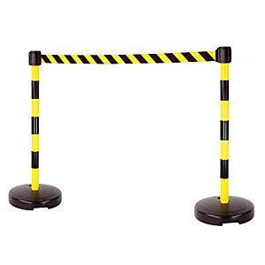Kit 2 poteaux à lester sangle noir / jaune de 3 m