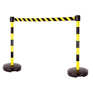 Kit 2 poteaux à lester sangle noir / jaune de 4 m