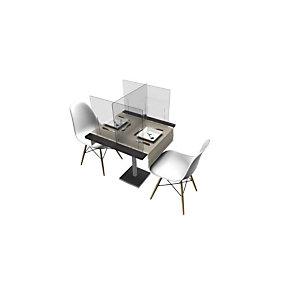 Kit 3 pannelli protettivi divisori in plexiglass per tavoli ristoro, Trasparente